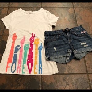 Outfit shorts & shirt size 10 and 10-12
